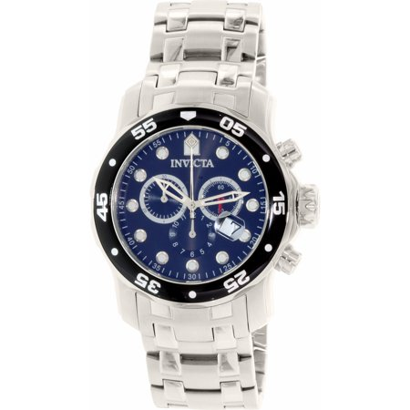 Invicta Men's Pro Diver 0069 Silver Stainless-Steel Swiss Chronograph Dress Watch