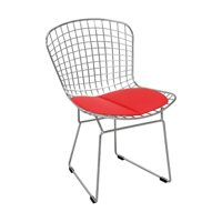 Modern Chrome Wire Dining Side Chair with Faux Leather Seat Cushion (Red)