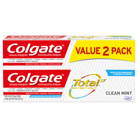 Colgate Total Toothpaste, Clean Mint, 4.8 oz. 2-pack -