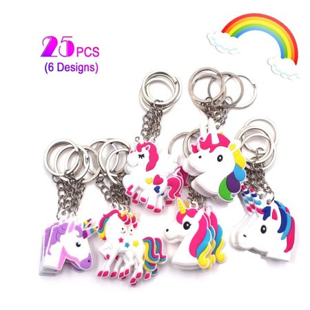Rainbow Unicorn Keychains Pack 25PCS Toys Birthday Party Favor Supplies Key Chains Christmas Goody Bag Decoration Novelty Gift