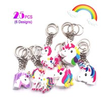 Rainbow Unicorn Keychains Pack 25PCS, Unicorn Toys Birthday Party Favor Supplies Key Chains Pack, Christmas Goody Bag Toys Decoration Novelty Gift
