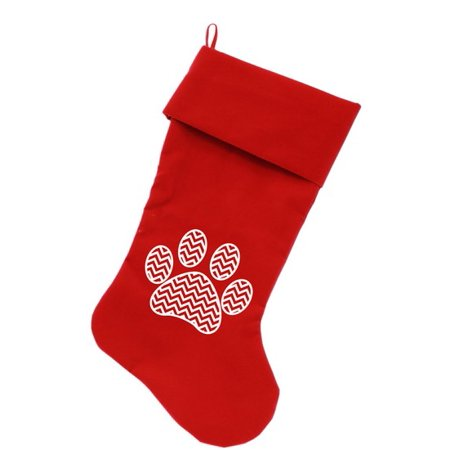 Chevron Paw Screen Print 18 Inch Velvet Christmas Stocking Red