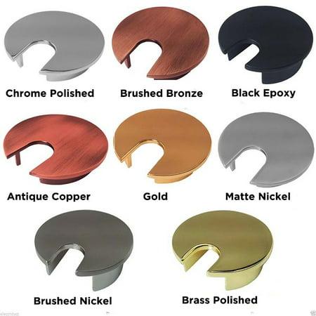 Metal Round Office Computer Desk Grommets - Color: Brushed Bronze - Size: 2