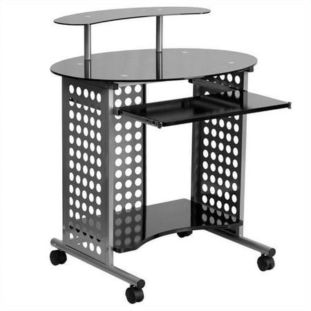 Flash Furniture Cassini Computer Desk With Black Glass Top Walmart