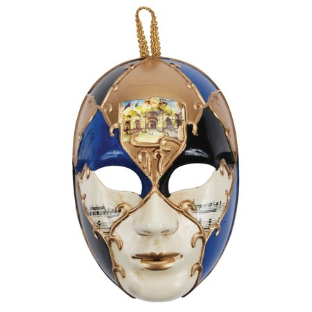 Loftus Music Notes Masquerade Face Venetian Mask, Blue Gold, One Size