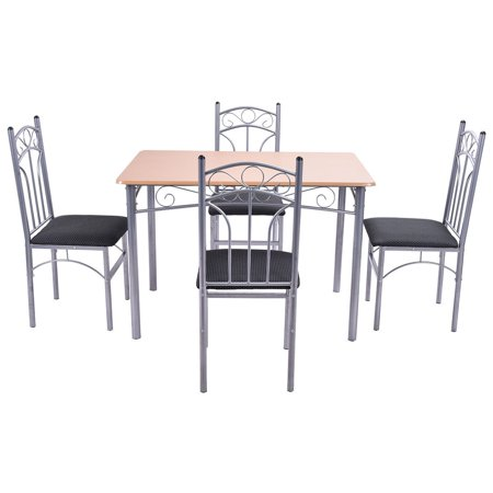 5PCS Wood And Metal Dining Set Table and 4 Chairs Home Kitchen Modern Furniture