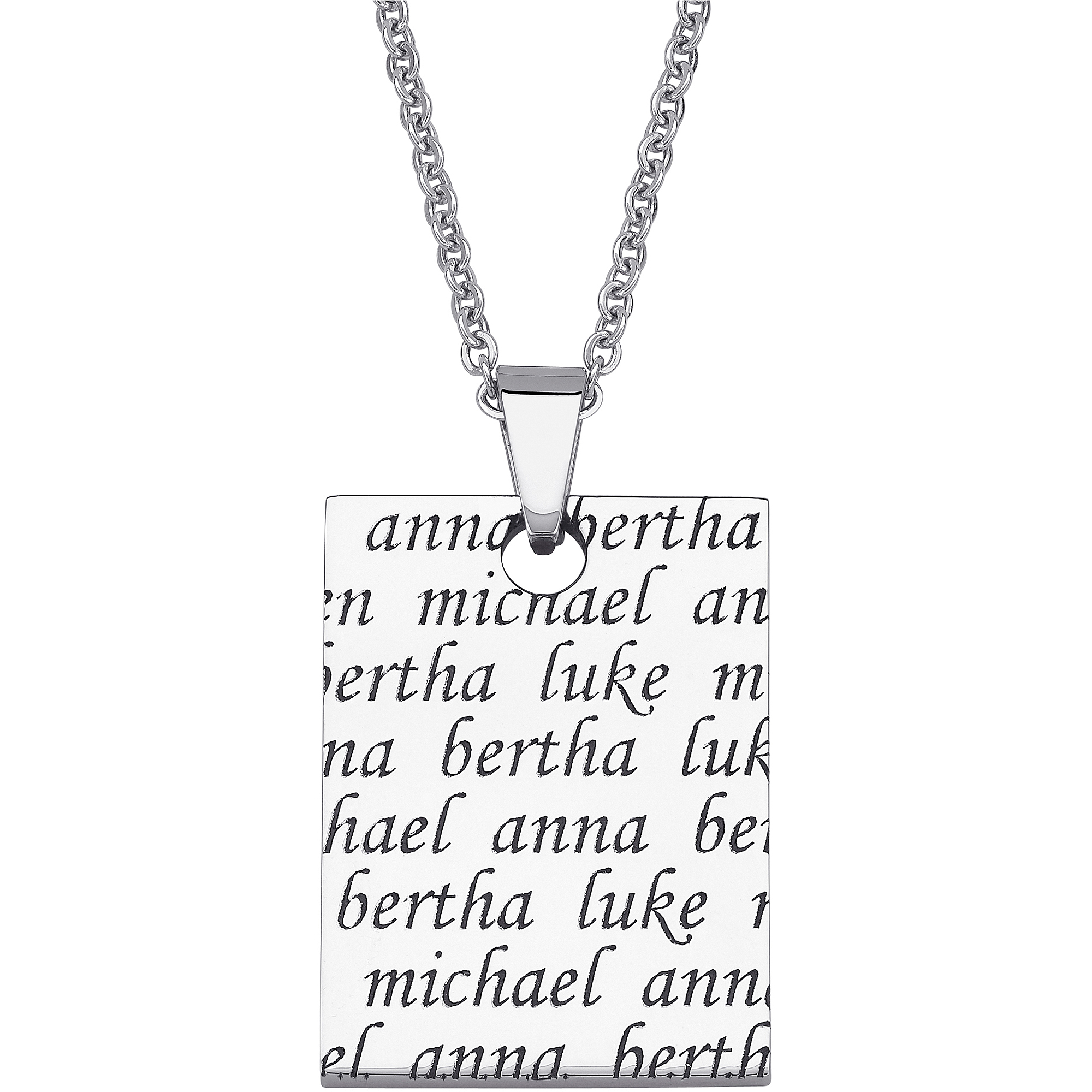 Personalized Women's Stainless Steel Never-ending Engraved Names Pendant