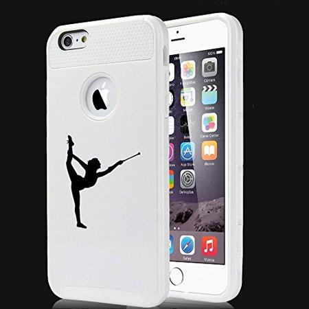 Apple iPhone 5 5s Shockproof Impact Hard Case Cover Female Gymnast Twirling Baton Gymnastics (White),MIP ()