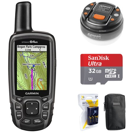 Garmin 010-01199-20 GPSMAP 64st Worldwide Handheld GPS 1 Yr. Subscription Preloaded US Map + 32GB Memory Card + LED Brite-Nite Dome Lantern Flashlight + Carrying Case + 4x AA Batteries w/ Charger](garmin gpsmap 4012 12 inch waterproof marine gps and chartplotter)
