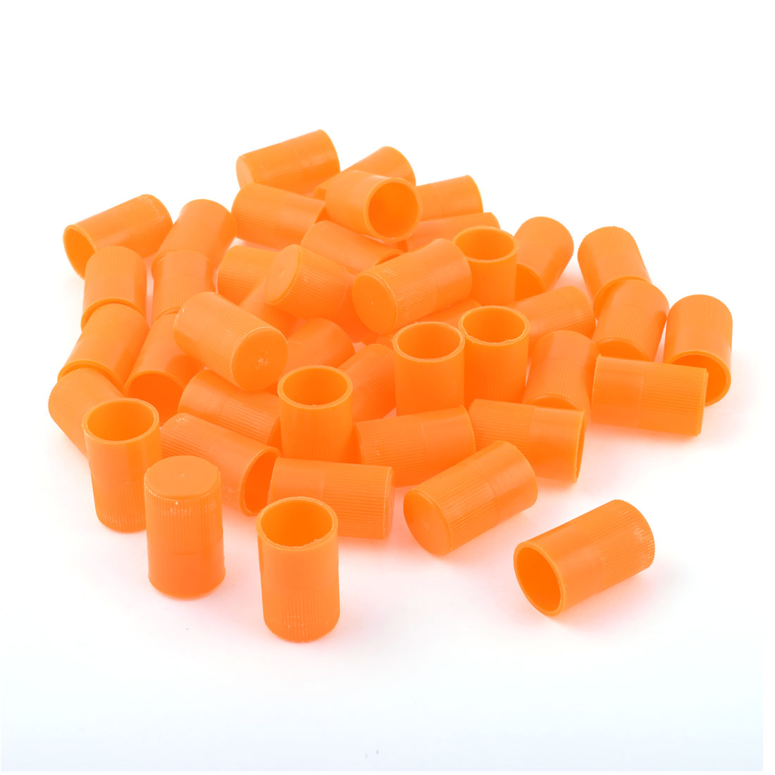 Unique Bargains 50 PCS 35mm x 18mm Textured Orange Plastic Test Tube Cap Cover