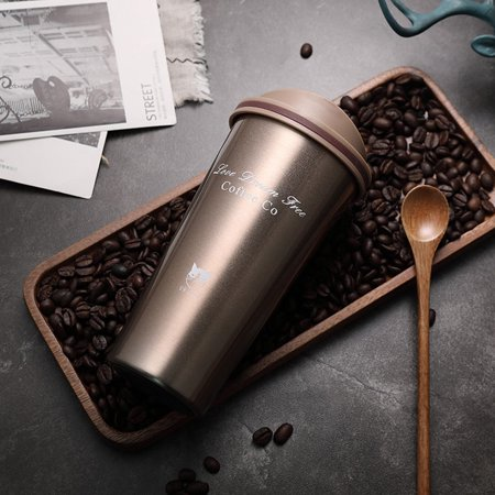 Stainless Steel Vacuum Insulated Coffee Cup Travel Flask Mug with Lid, 500ml