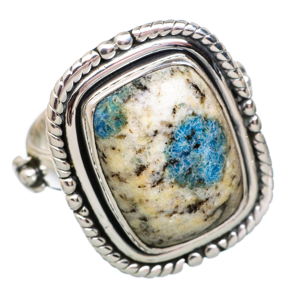 Ana Silver Co K2 Blue Azurite 925 Sterling Silver Ring Size 6.75 - Handmade Jewelry RING848658