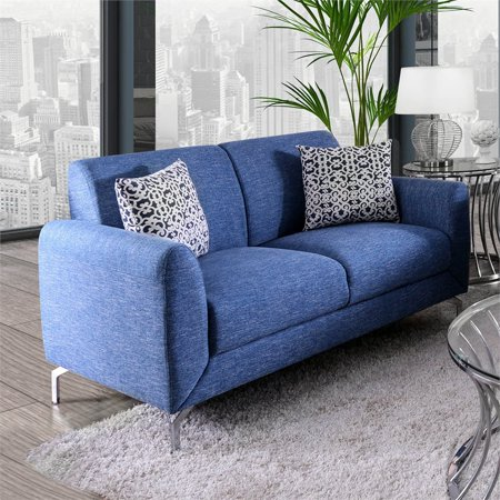 Fabulous Furniture Of America Kaci Contemporary Loveseat In Blue Inzonedesignstudio Interior Chair Design Inzonedesignstudiocom