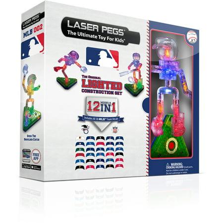 Baseball Peg (Laser Pegs LIGHTED CONSTRUCTION SET 12 IN 1MODELS + ALL 30 MLB TEAM DECALS )