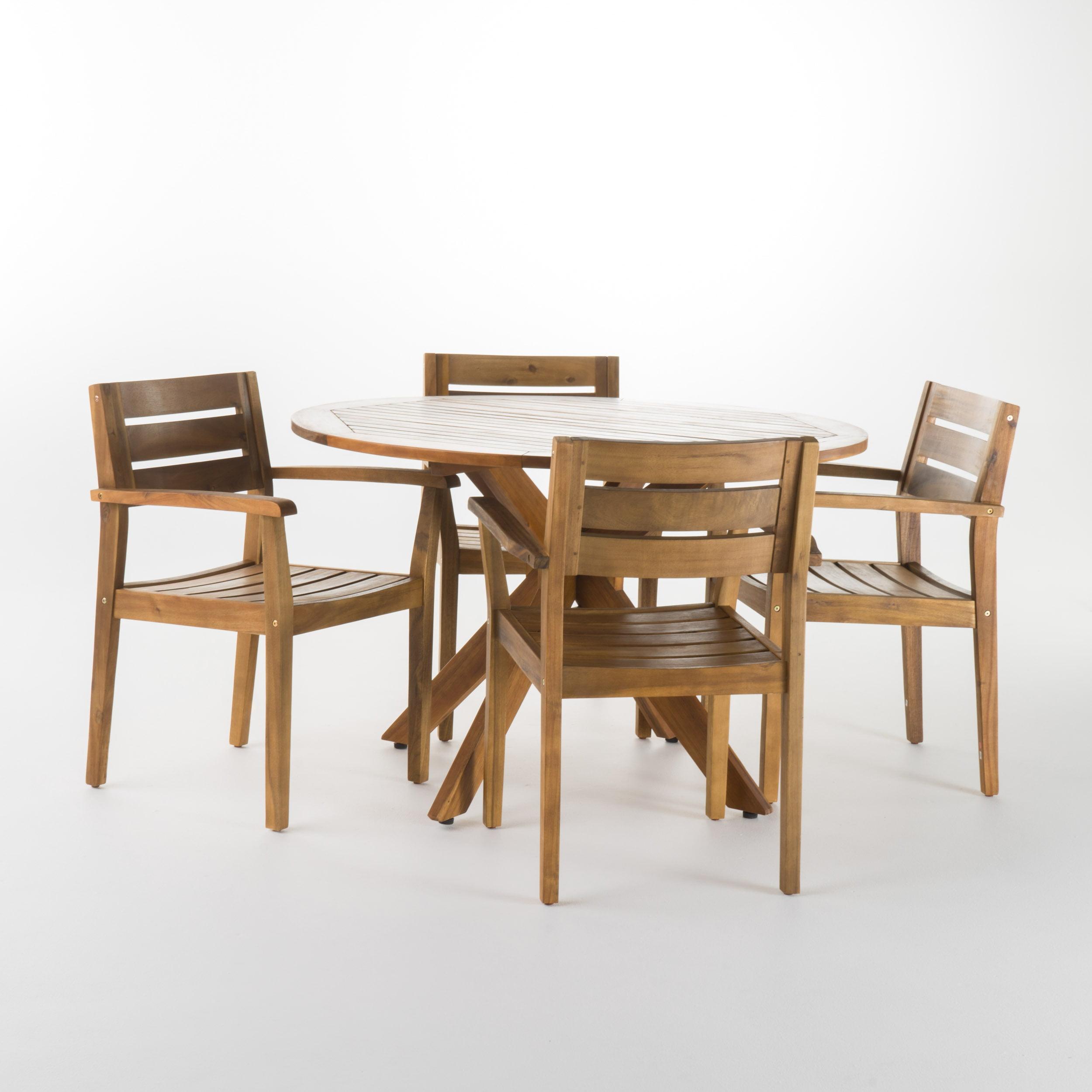 Stanford Outdoor 5 Piece Acaica Wood Round Dining Set, Teak Finish