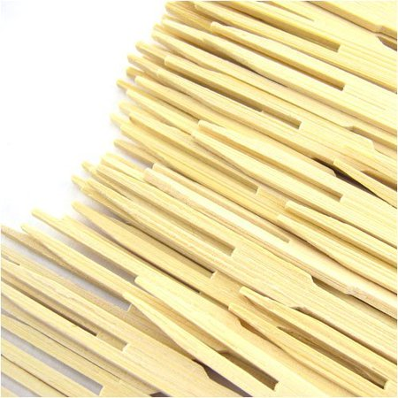 BambooMN Premium 3.5' Bamboo Mini Cocktail Tasting Forks Fruit Picks Party Supplies, 300 Pieces