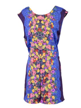 Moon Collection Enchanted Floral Prints Sleeveless Open Back Woven Romper