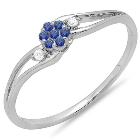 Dazzlingrock Collection 18K Round White Diamond & Blue Sapphire Ladies Bridal Swirl Cluster Promise Ring, White Gold, Size 6 ()