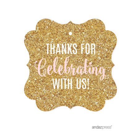 Signature Blush Pink, White, Gold Glittering Party, Fancy Frame Gift Tags, Thanks for Celebrating With Us!, -