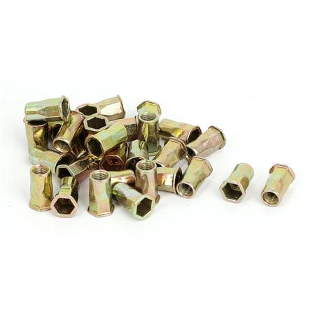 (30 Pcs M4 Carbon Steel Reduced Head Hex Body Blind Rivet Nuts Rivnuts Nutserts)