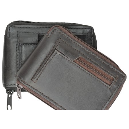 Zipped Compact Wallet - Zip Around Genuine Leather Bifold Wallet 1674 (C) Black