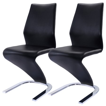 Costway 2 Pcs Dining Chairs PU Leather High Back Furniture Home Dining Room ()