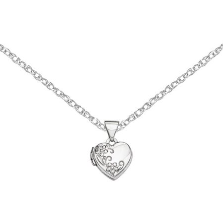 14kt White Gold Polished Heart-Shaped Floral Locket 14k Gold Heart Shaped Locket