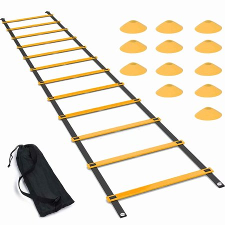Agility Ladder Set, 20FT Speed Training Ladder with 12 Adjustable Rungs, Plus 12 Disc Cones for Soccer, Football, Sports Training - Includes Heavy Duty Carry
