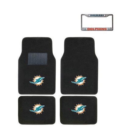 Miami Dolphins Floor Mat (Miami Dolphins 4 Pc Carpet Floor Mats And Chrome Metal License)