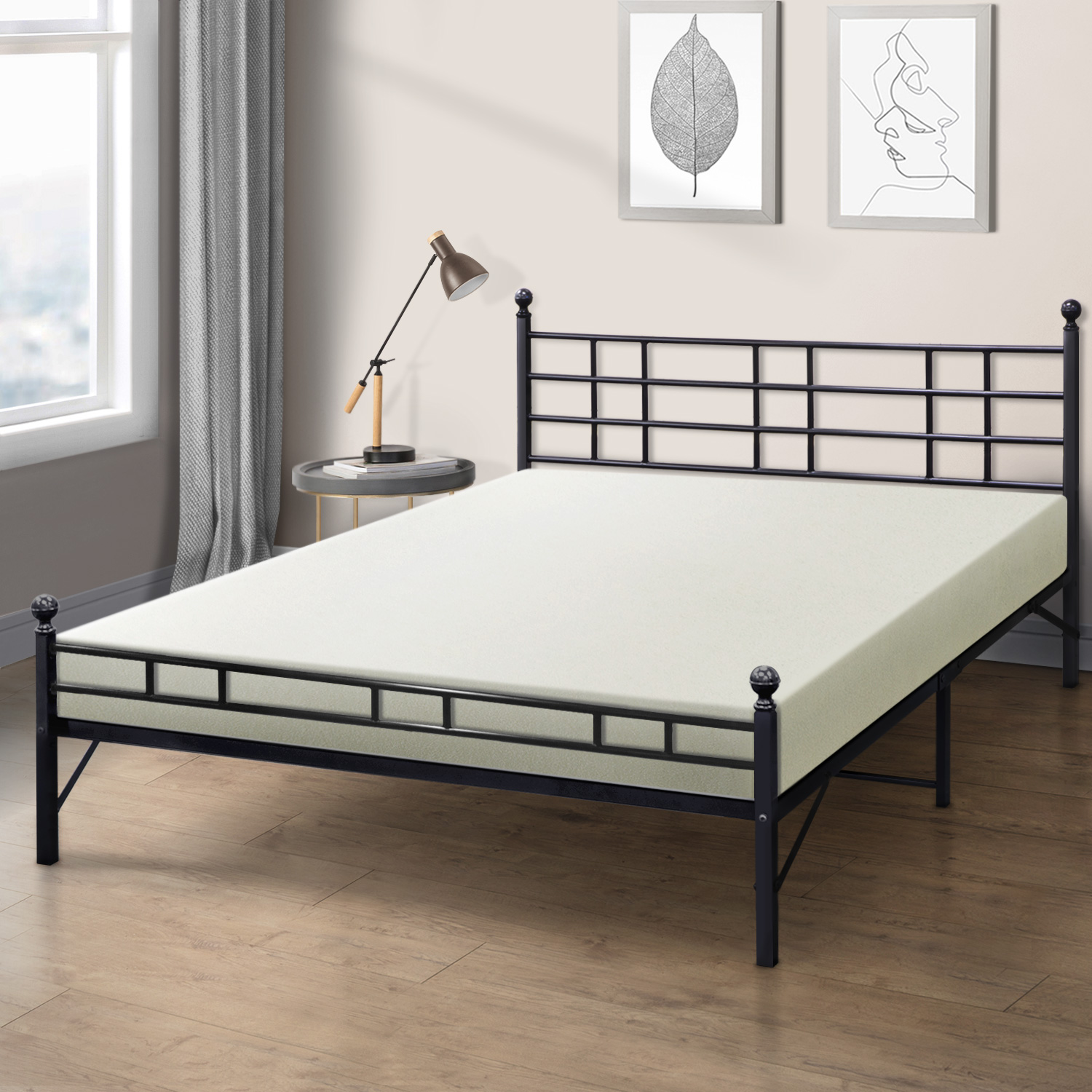 Best Price Mattress 6 Inch Memory Foam Mattress and Easy Set-Up Steel Bed Frame Set, Multiple Sizes