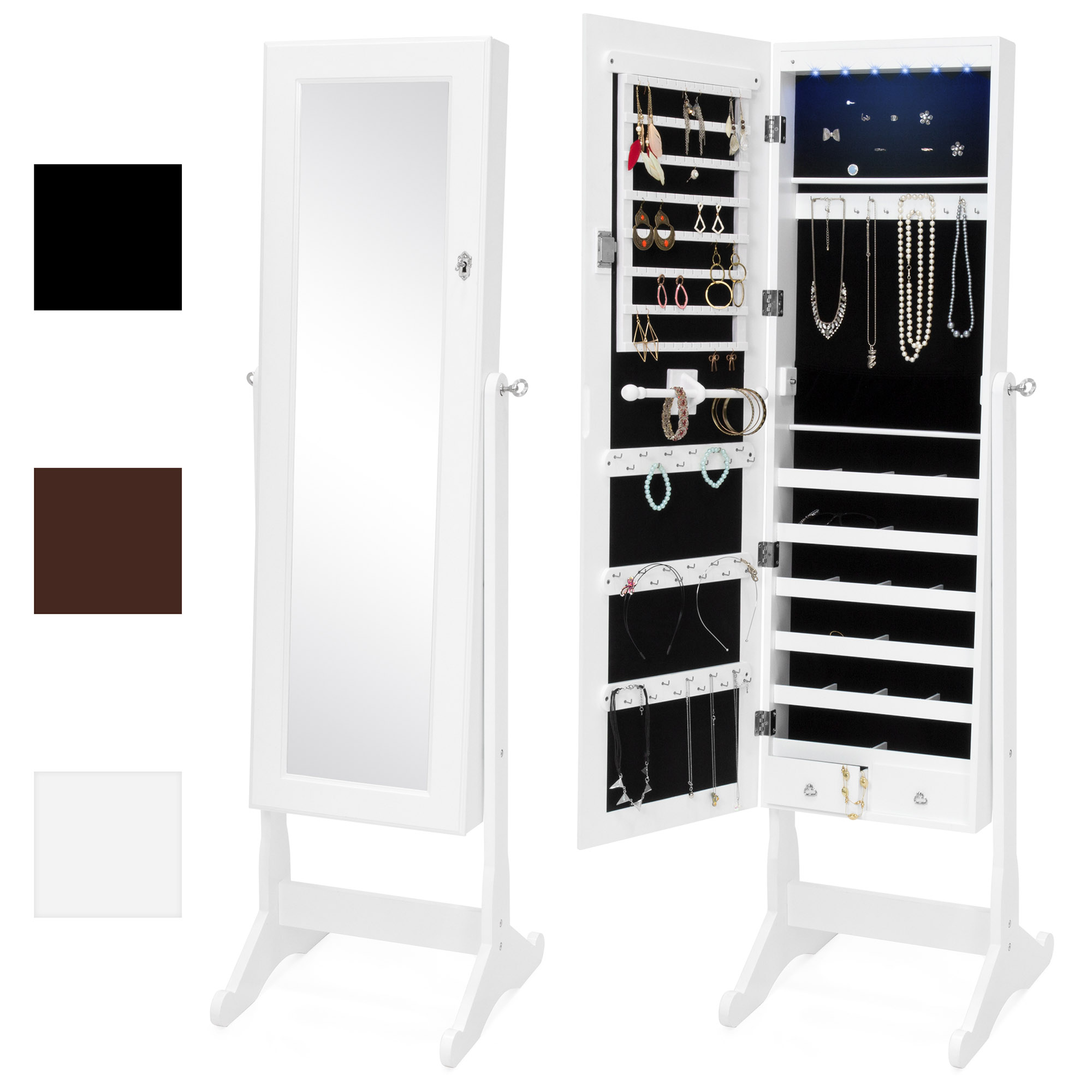 Best Choice Products 6-Tier Full Length Standing Mirrored Lockable Jewelry Storage Organizer Cabinet Armoire w/ 6 LED Interior Lights, 3  Angle Adjustments, Velvet Lining - White