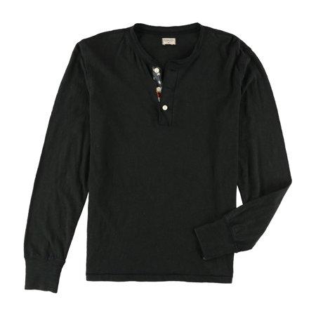 Ralph Lauren Mens Contrast Henley Shirt, Black, Medium