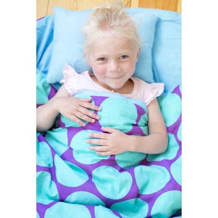 Wildkin Kids' Sleeping Bag, Big Dot Aqua