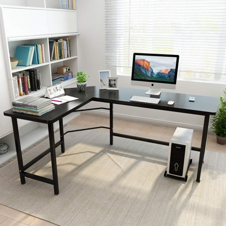 Ktaxon L-Shaped Computer Desk Corner PC Latop Table Study Office Workstation Black Corner Computer Desk Tower