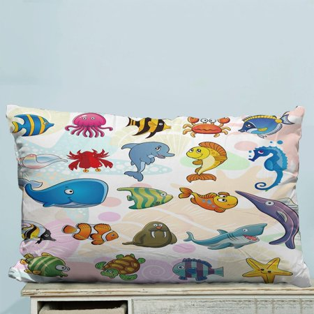 GCKG Sealife Fish Shark Octopus Starfish Crab Pillow Case Pillow Cover Pillow Protector Two Sides 20x30 Inches - image 2 de 2