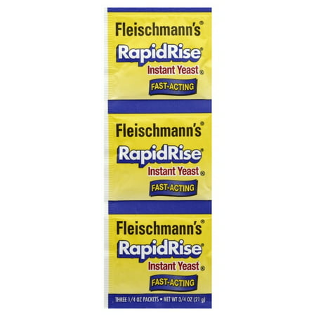 Fleischmann's Rapid Rise Yeast 0.75 oz, 3 Packets Save time when you bake with Fleischmann's Rapid Rise Yeast. It's designed to help make preparing your recipes easier. This yeast only requires one rise and there's no need to hydrate it in water. Simply add it to your dry ingredients and follow the rest of the recipe. Then, just knead, shape and bake. Fleischmann's instant yeast even works well in bread machines. It's a gluten-free product that's made to satisfy. This fast-acting yeast comes in a 0.75 oz packet.