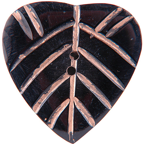 Vision Trims 1758 Handmade Horn Button-2 inch Heart Pink Carvings