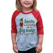 7 ate 9 Apparel Youth Big Sister Christmas Raglan Shirt Red XL