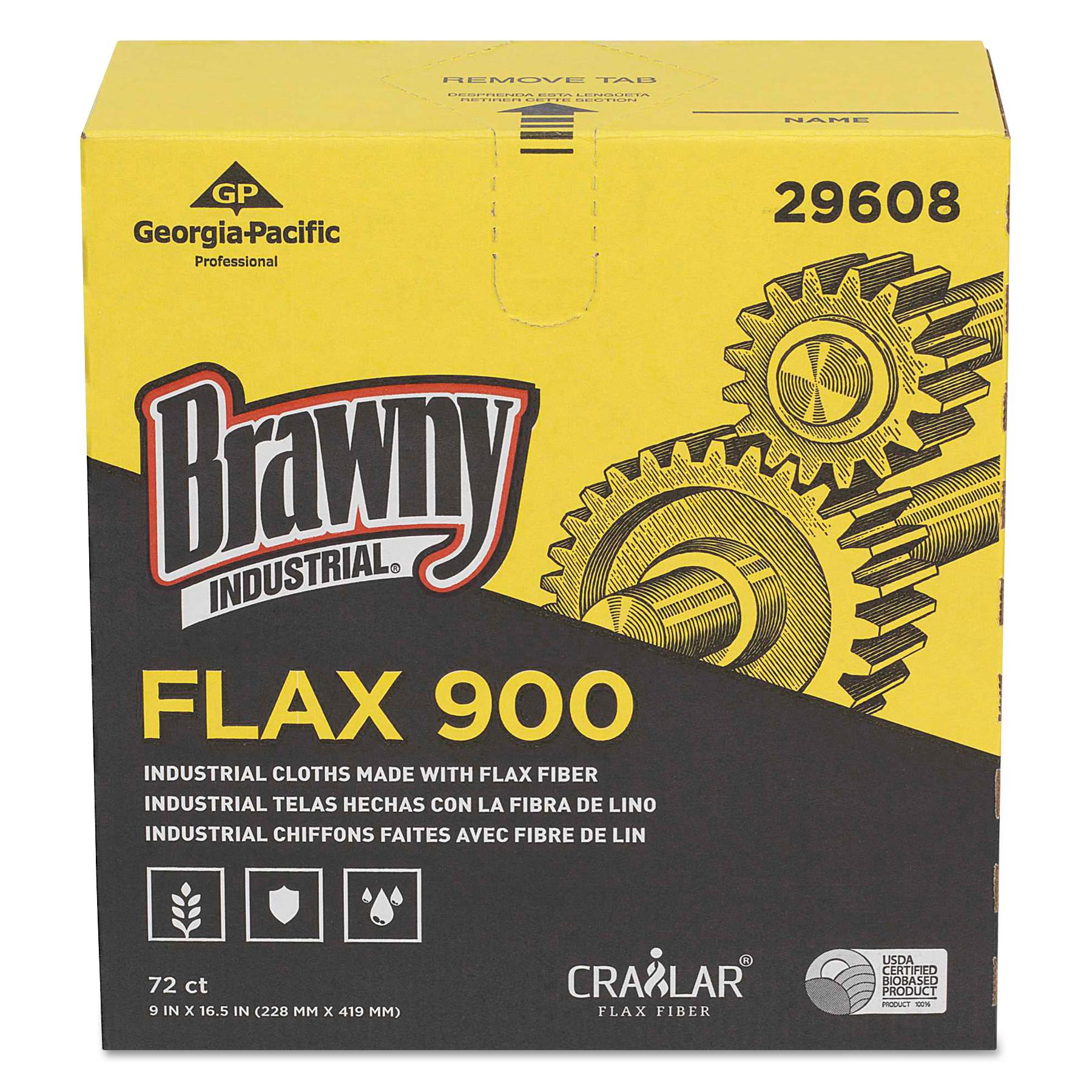Brawny Industrial FLAX 900 Heavy Duty Cloths, 9 x 16 1/2, White, 72/Box, 10 Box/Carton -GPC29608