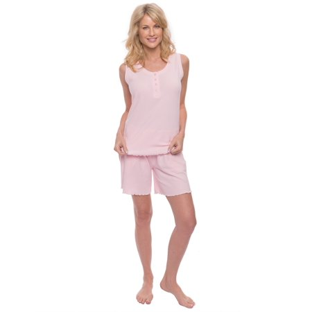Women's Cozy Rib Shorts and Tank Top Lounge Set - Pink - -