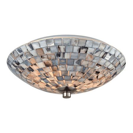 Flush Mounts 2 Light With Satin Nickel Finish Gray Capiz Shell Medium Base 12 inches 120 Watts - World of Lamp