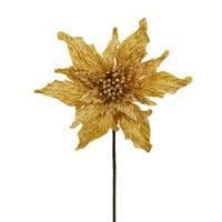 16 Inch Gold Velvet Poinsettia