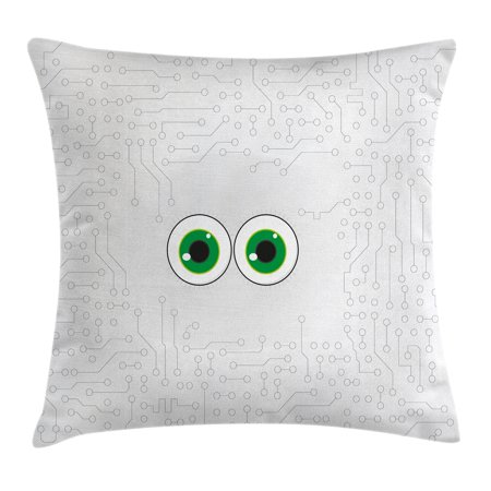 Trippy Throw Pillow Cushion Cover, High-Tech Hardware Circuit Board Backdrop with Eye Forms Digital Picture, Decorative Square Accent Pillow Case, 18 X 18 Inches, Pearl Black Jade Green, by Ambesonne ()