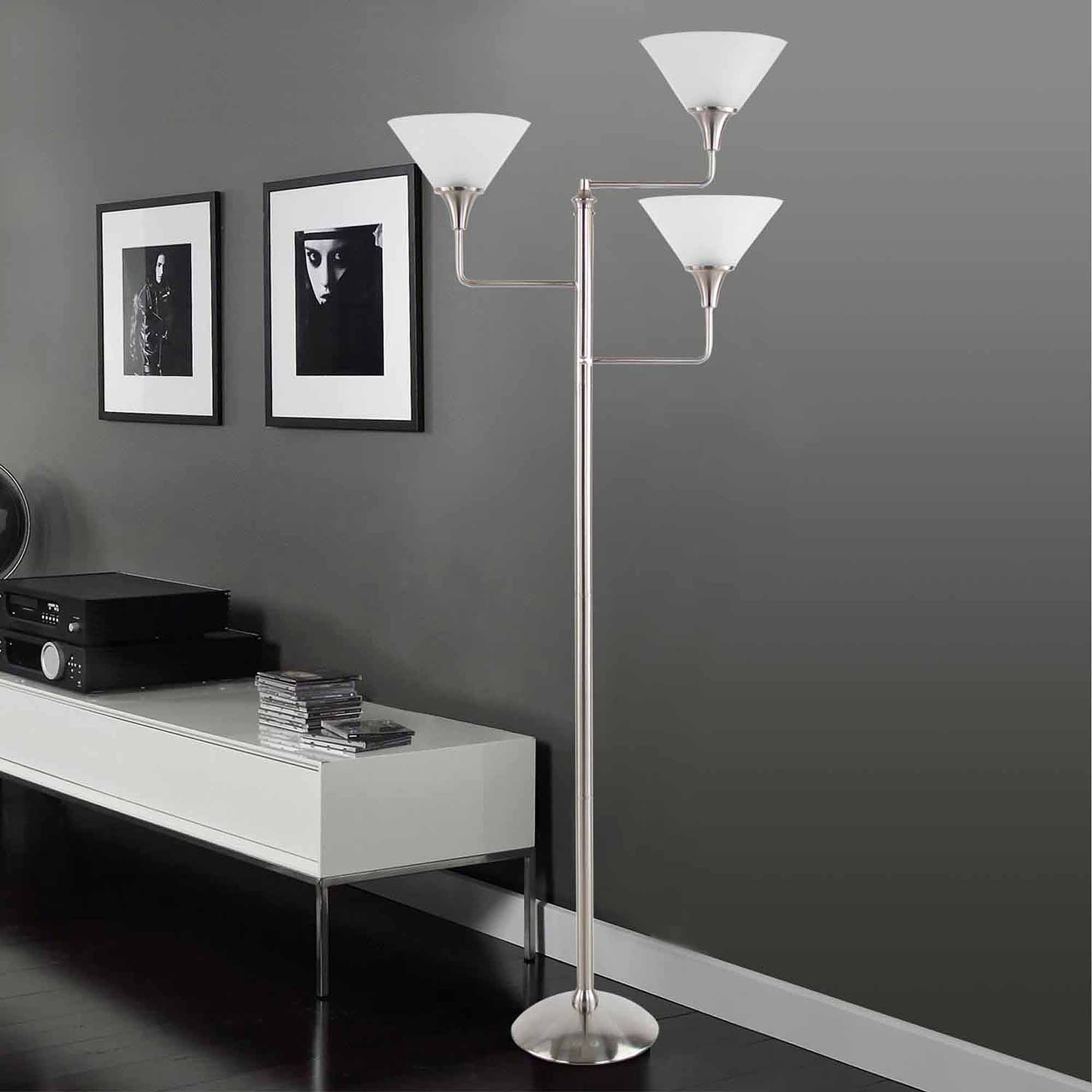 Legacy Home Collection 3-Head Floor Lamp, Brushed Nickel with White Shades by Legacy Home LTD