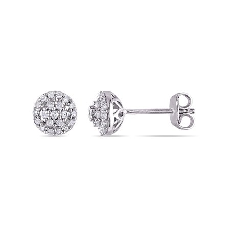 Miabella 1 4 Carat T W Diamond Sterling Silver Halo Stud Earrings