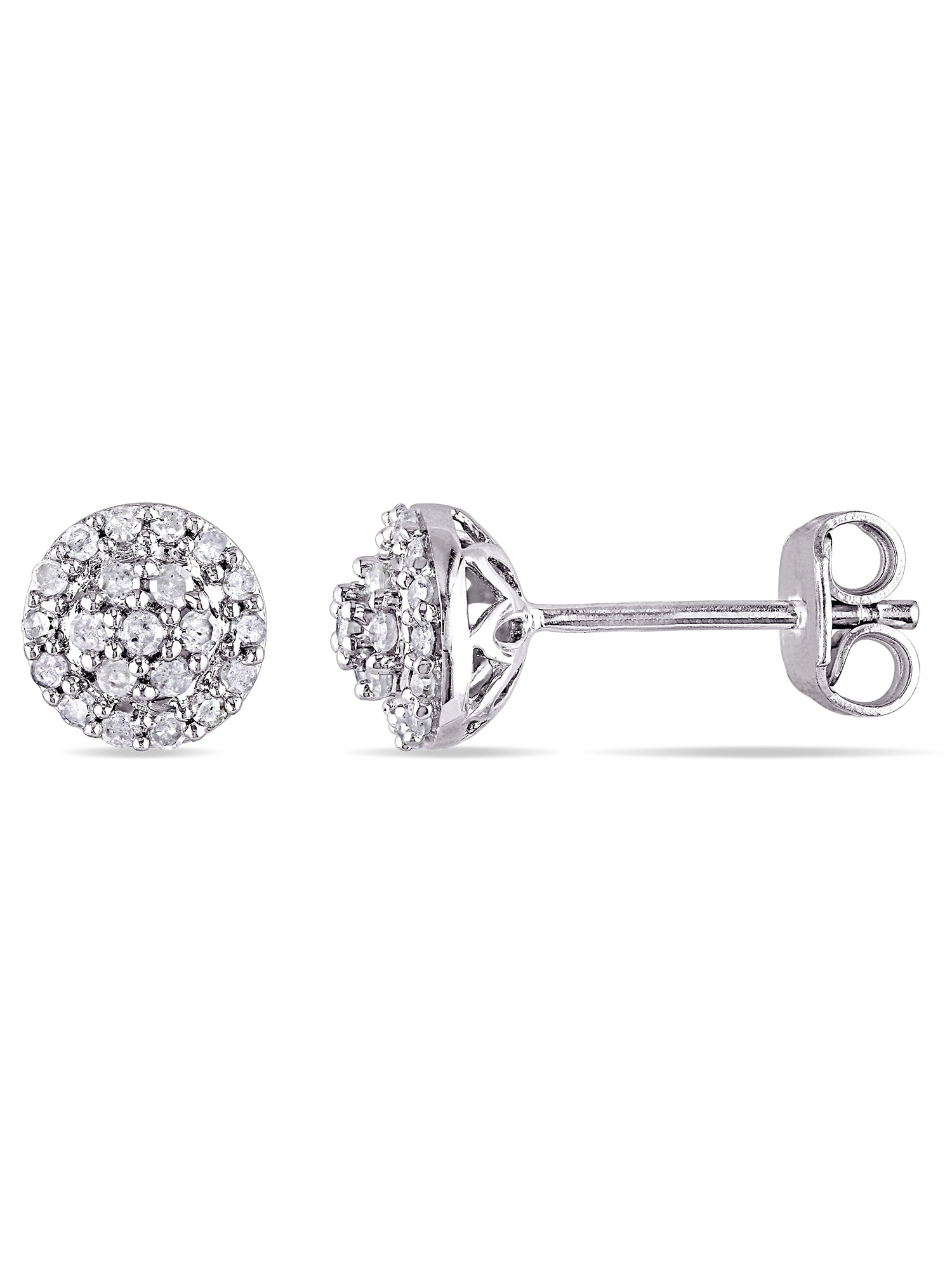 1/4 Carat T.W. Diamond Sterling Silver Halo Stud Earrings