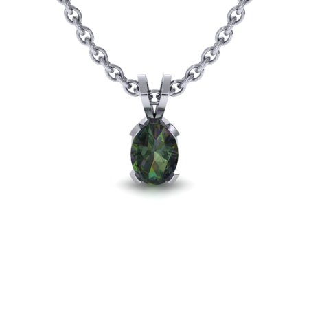 SuperJeweler 1/2 TGW Oval Shape Mystic Topaz Necklace In Sterling Silver, 18 Inches