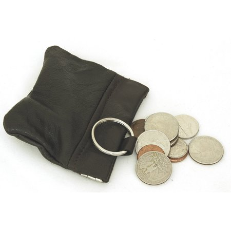 Key Coin Purse (Leather Coin Purse Wallet Metal Spring Closure With Key Chain Loop Inside)