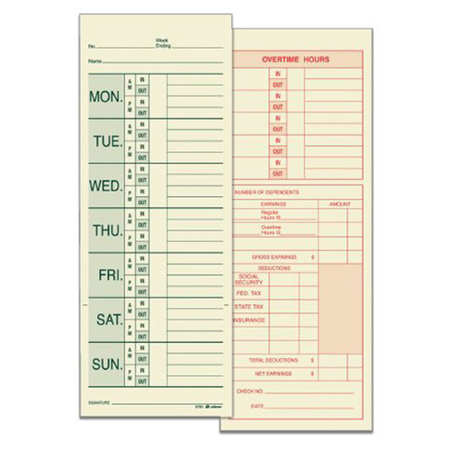 Adams Business Forms 2 Sided Named Days Weekly Time Card ...