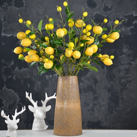 Artificial Plants Creative Lemon Branch Decorative Lifelike Fake Artificial Lemon Artificial Fruit Indoor Outdoor Decorations for Home Living Room Dining Room Garden Wedding